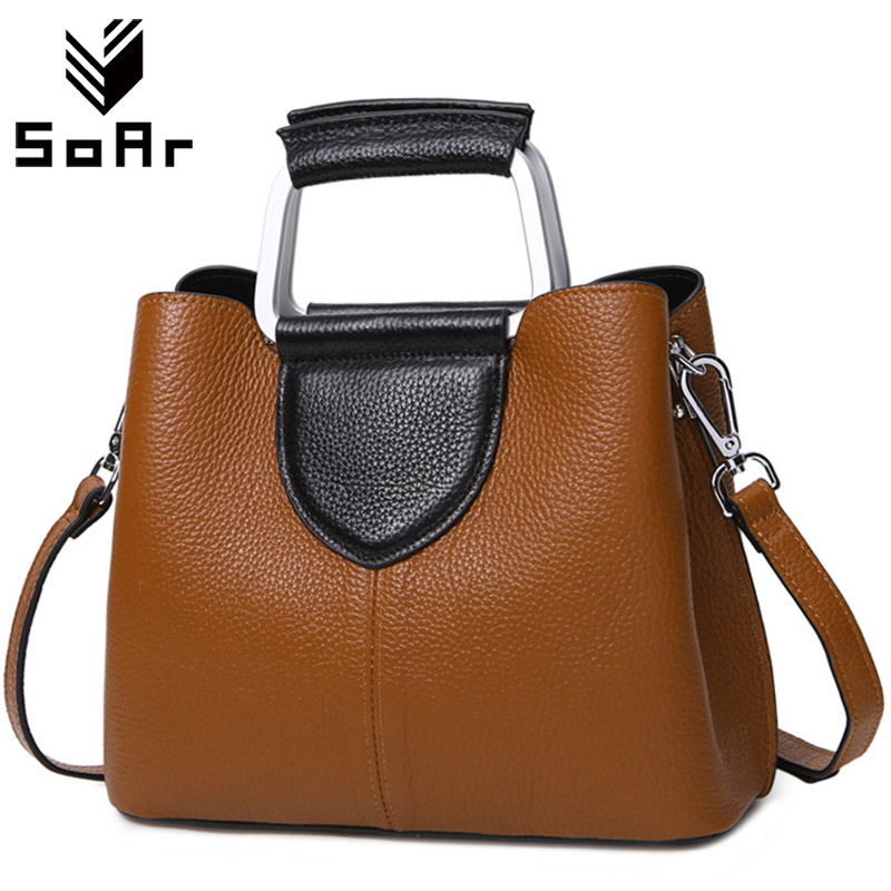 купить SoAr Luxury Handbags Women Bags Leather Genuine Brand 2018 Designer Ladies Bag New Fashion Shoulder Bag Female Messenger Bags по цене 2556.63 рублей