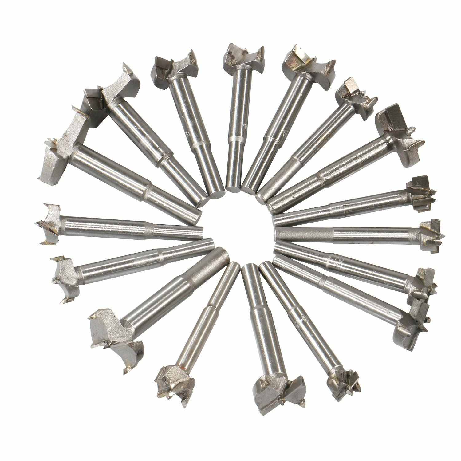 17Pcs Forstner Bit Set Drill Bits Tungsten High Speed Steel Woodworking Hole Saw Set Wood Drill Bit Auger Opener for Woodworking