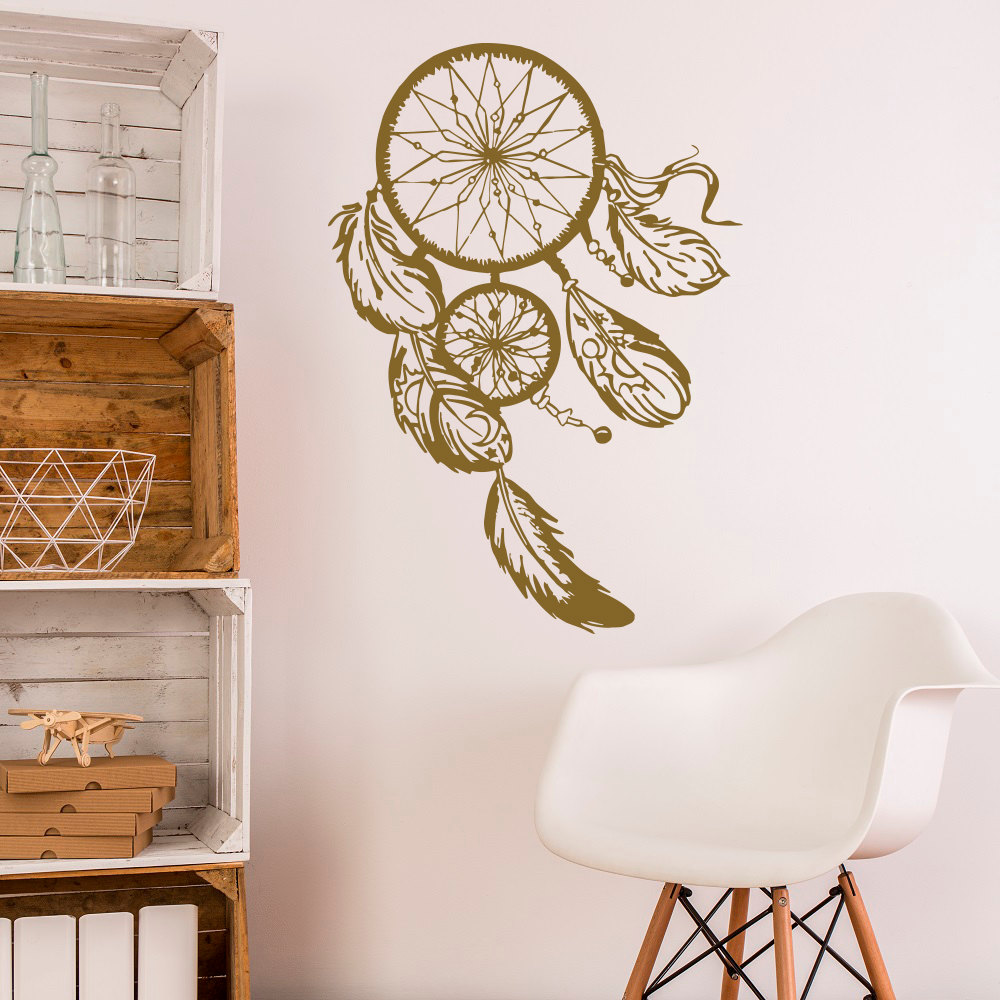 Dream Catcher Wall Decal- Gold Dreamcatcher Wall Stickers Hippie Native America Boho Bohemian Bedroom Wall Art Home Decor JW062