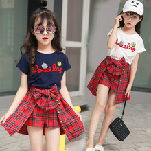 все цены на Clothing Sets for Children Casual Girls Sets Clothing Letter Print Tee Shirt + Bow Plaid Skirt Pants Summer Clothes for Girls онлайн
