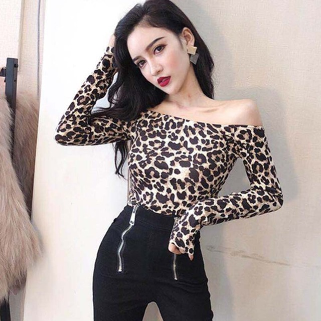 726536c9678e0 Sexy Fashion Women Loose Long Sleeve Casual Blouses Shirt Tops Off Shoulder  Leopard Print Tops Puff Long Sleeve Top For Girl