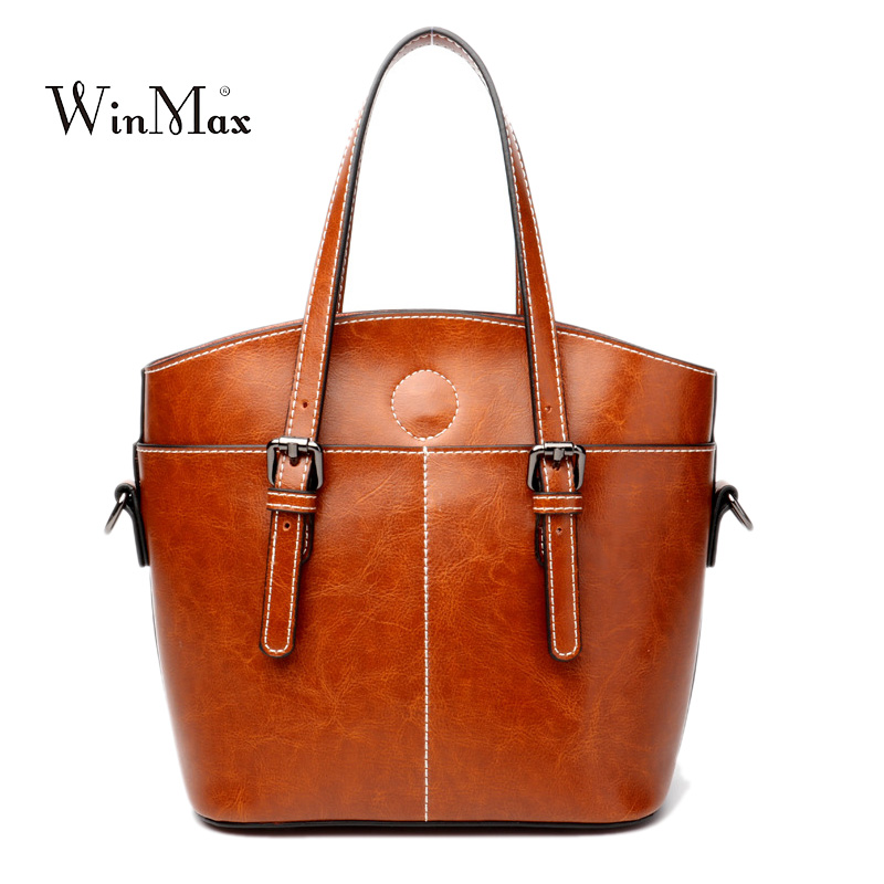 New Fashion Women Handbag Genuine Leather Women Bag Soft Oil Wax Leather Shoulder Bag Large Capacity Casual Tote Bolsa sac 2018 genuine leather elegant women shoulder bag casual totes handbag ladies fashion large capacity female luxury bolsa feminina sac