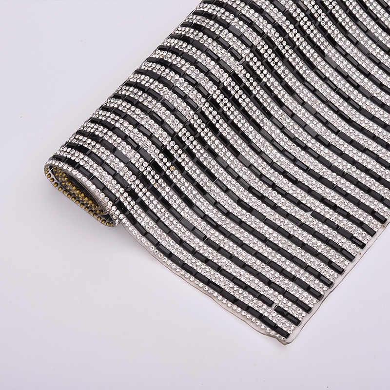 JUNAO 24*40cm trasparente nero Hotfix Strass maglia tessuto di cristallo foglio di vetro Trim Applique Strass nastro vestiti gioielli artigianato