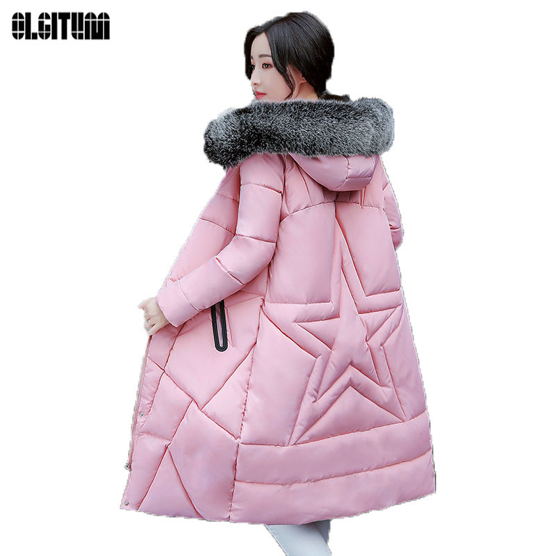 OLGITUM 2017 new autumn and winter women's cotton down jacket long cotton clothing collar cotton jacket hooded jacket CC406 awo compatibel projector lamp vt75lp with housing for nec projectors lt280 lt380 vt470 vt670 vt676 lt375 vt675