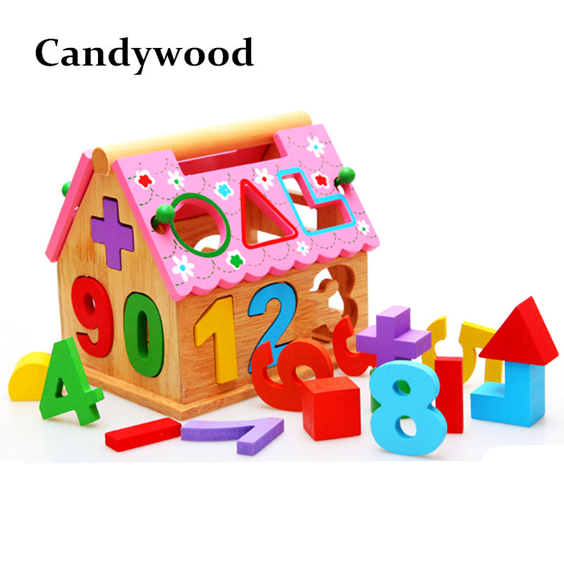 Candywood wooden house Intelligence Box for Shape Sorter Cognitive & Matching Wooden Building Blocks math toys for Children kids eu plug miners power supply fan set 1600w 12v 128a output including sata port 4p 6p 8p 24p connectors use for rx470 rx480 rx570