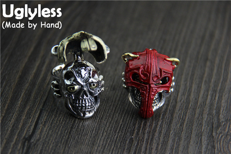 Uglyless Real S925 Thai Silver Openable Mask Knight Finger Rings for Men Exaggerate Skull Ring Handmade Thai Fine Jewelry BijouxUglyless Real S925 Thai Silver Openable Mask Knight Finger Rings for Men Exaggerate Skull Ring Handmade Thai Fine Jewelry Bijoux