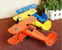 Big Size DIY Vintage Retro Blue Plane Airplane Aircraft Models Toys For Children Glider Biplane Home