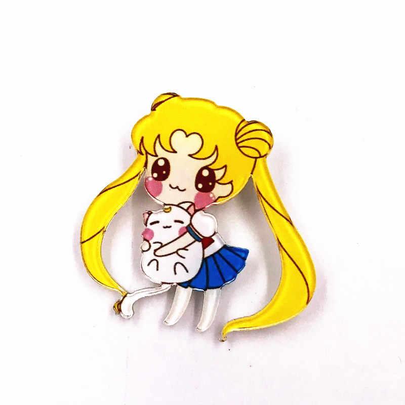 1 Uds Kawaii insignias de acrílico Anime lo broche en la camiseta de iconos de ropa adorno hermosa chica regalos de fiesta para niños
