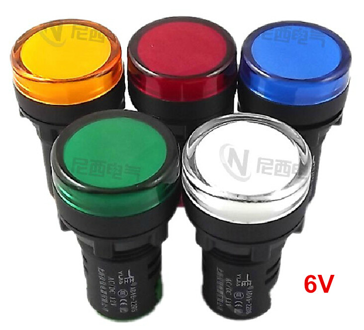 5pcs/lot 22mm AC/DC 6V Panel Led Signal Light Brightness Warterproof Indicator Indicating Lights Hole Size AD16-22D/S image