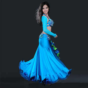 Belly dance clothing women luxury belly dance suit bra+shoulder+belt+skirt 4pcs belly dance clothes suit performance suit S M L