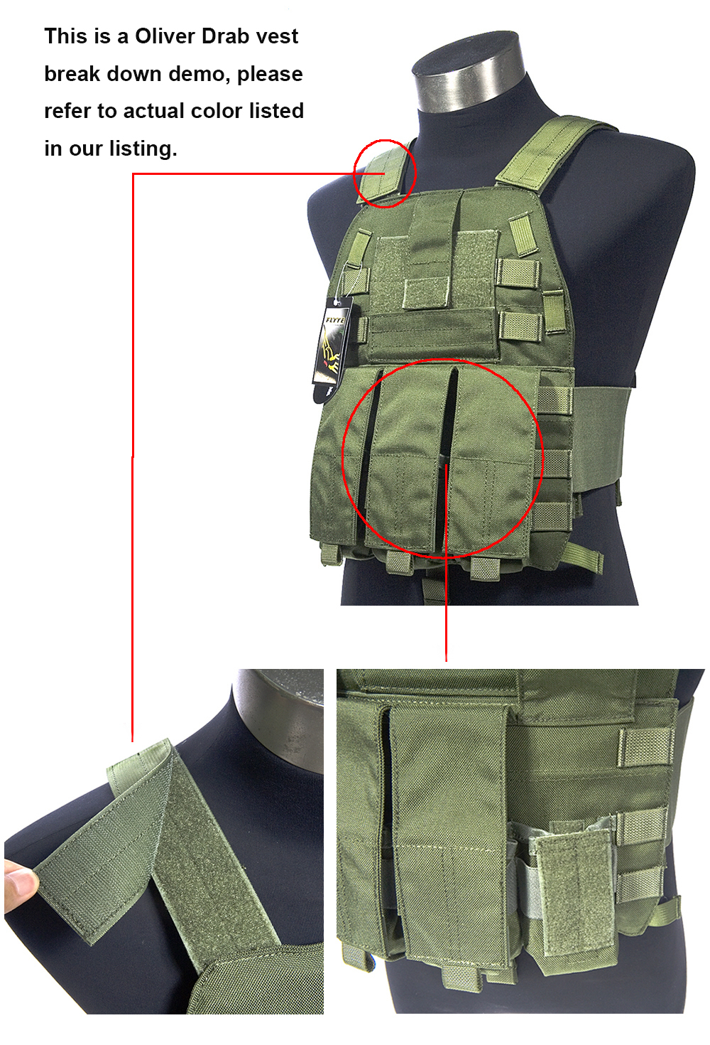 Mil Spec Military LT6094K Oliver Drab OD Plate Carrier Combat Molle Tactical Vest  Army Military Combat Vests & Gear Carrier  цена