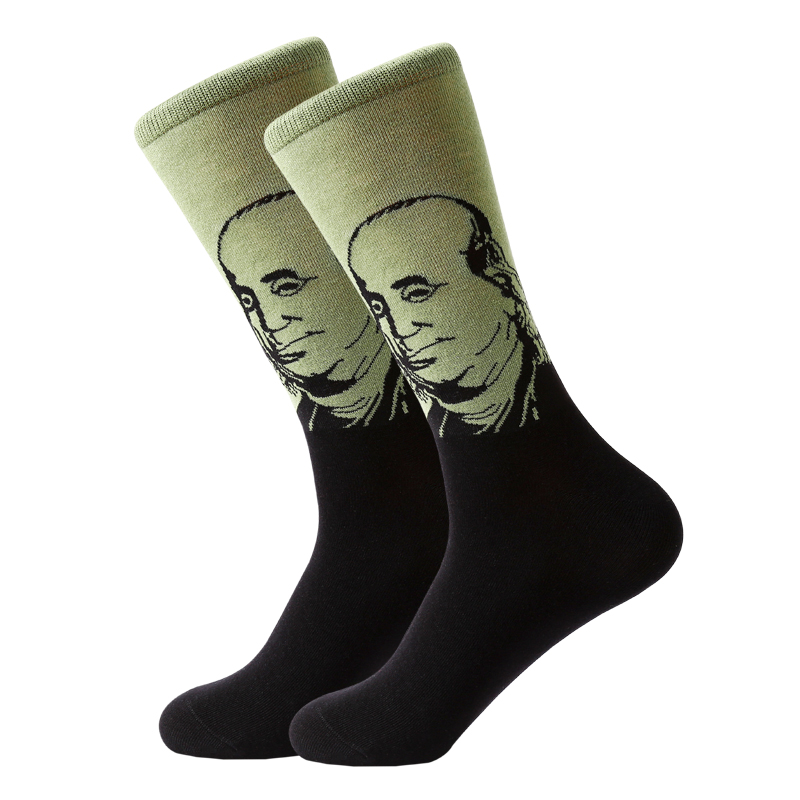 LETSBUY 5pairs Lot men socks combed cotton long socks novelty famous people character crew socks for business wedding gfit socks in Men 39 s Socks from Underwear amp Sleepwears