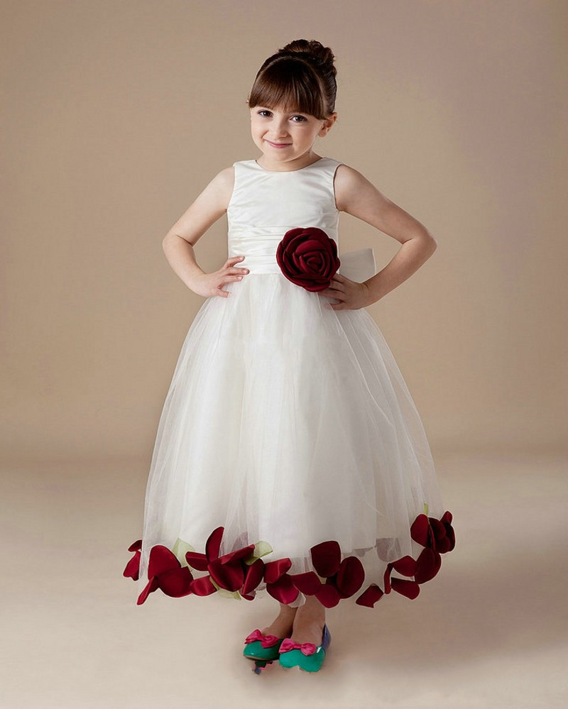 New arrival rose leaf a line flower girl dresses 2016 charming tulle new arrival rose leaf a line flower girl dresses 2016 charming tulle bow custom made cheap flower girl dresses in flower girl dresses from weddings events mightylinksfo