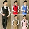 2017 Nova moda masculina pure color fino cavalheiro terno Com Decote Em V colete/qualidade boutique dos homens terno de negócio colete broche decoração