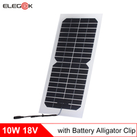 Elegeek 18 В Панели солнечные Зарядное устройство для 12 В Батарея с крокодил 10 Вт 550mA полу-гибкий прозрачный солнечный панель 2 шт./лот