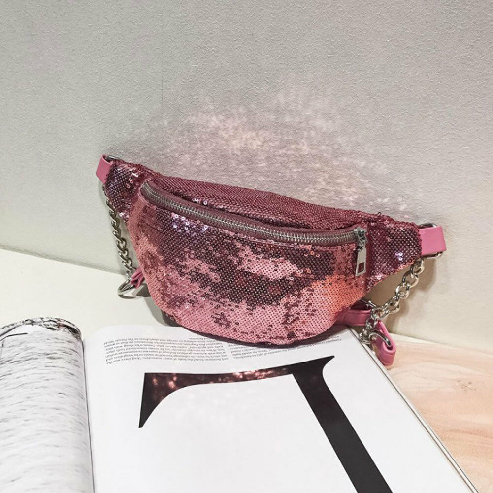 Hip-hop Fanny Pack Holographic Glitter Sequins Women's Waist Bag Casual Chain Fashion Chest Bag