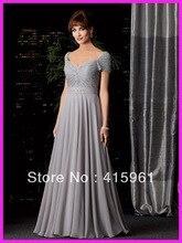 2013 Silver A Line Floor Length Short Sleeve Mother of Bride Dresses Beadings Belt M1111