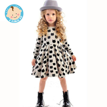 Winter Autumn Spring Girl Dress Animal Print Kids Clothes 2016 Fashion Long Sleeve Cotton Girls Clothes Casual Children Clothing