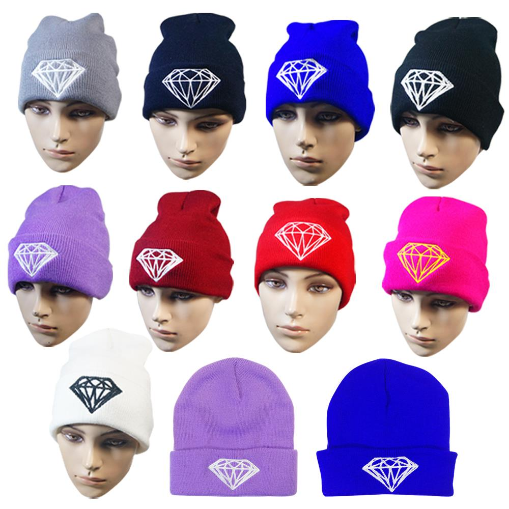 Fashion winter hat diamond hats for women knitted slouchy beanie womens bonnet Skull Chunky stocking hats,Baggy warm female Cap knitted winter warm female hat rabbit fur beanie cap woman chunky baggy cap skull gorros de lana mujer bonnet femme beanies cap