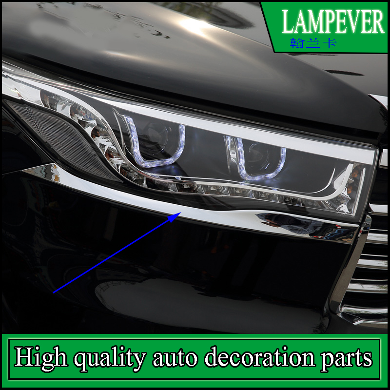 For Toyota Highlander 2015 2016 Car Headlight Lamp Eyebrow Covers Exterior Trim Headlights Frame Trim Car Styling Auto Parts