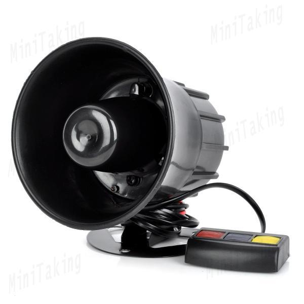 30W 3-Sound Loud Security Alarm Siren Horn Speaker - Black for Motorcycle car modification