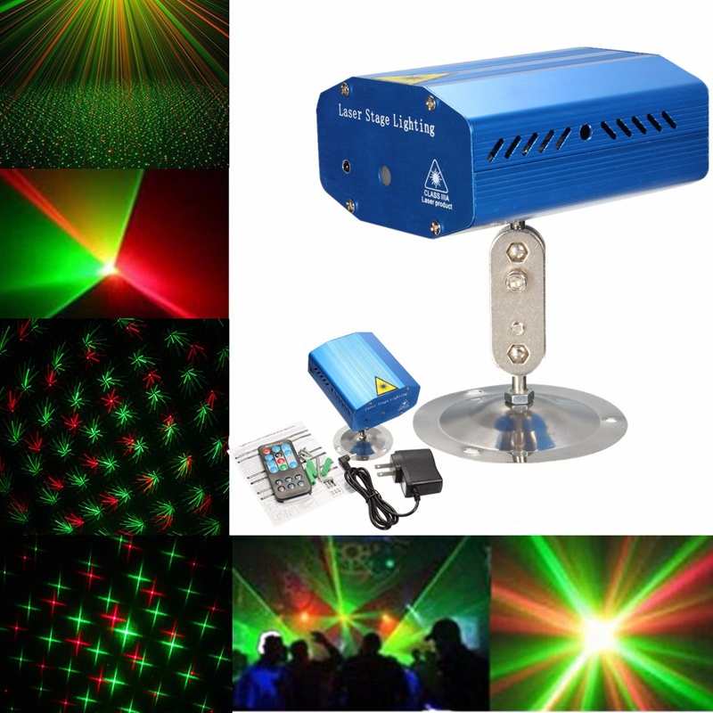 New Year Decor Mini Auto/Voice LED Stage Lamp Light Laser LED Stage Lighting Effect Projector For X-mas Party Disco Club Lights rg mini 3 lens 24 patterns led laser projector stage lighting effect 3w blue for dj disco party club laser