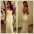 Romantic White Lace Appliques Mermaid Prom Dresses Long 2017 Sweetheart Backless Spaghetti Strap Evening Party Gowns Hot Sale