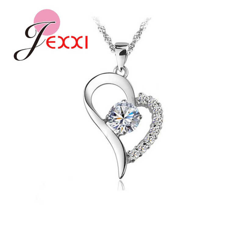 Romantic 925 Sterling Silver Heart Charms Pendant Necklace Cubic Zircon Mosaic Women Party Birthday Lovely Jewelry Accessory