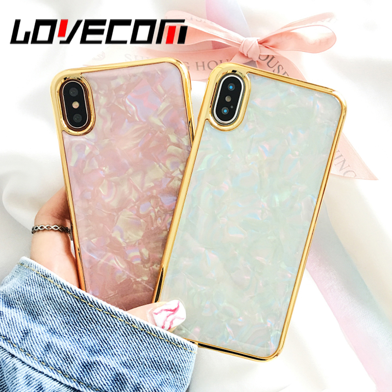 LOVECOM Phone Case For iPhone 6 6S 7 8 Plus X Cool Electroplate Gold Diamond Hard PC Phone Back Cover Cases Best Gifts