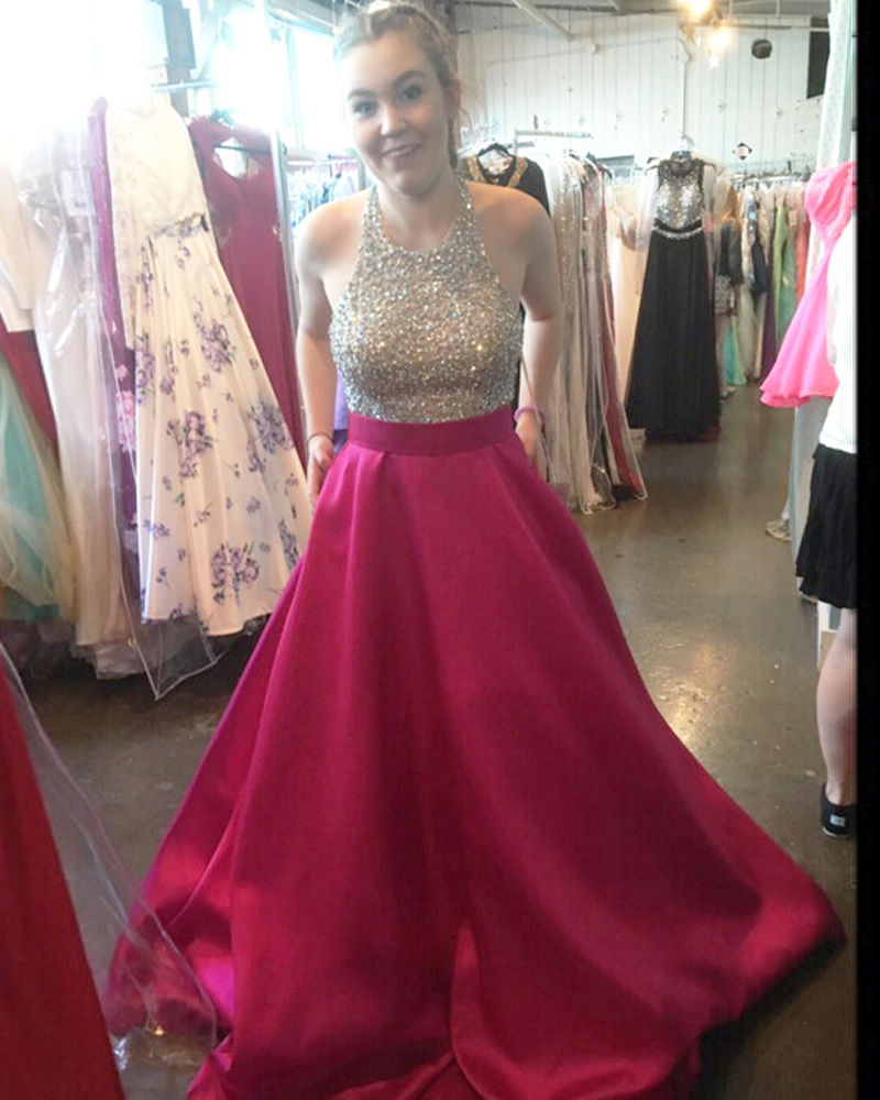 5da73d6f887a3d Dress For Graduation Plus Size Prom Dresses Halter Top Off The Shoulder  Floor Length Stain Beaded Prom Dresses With Pockets