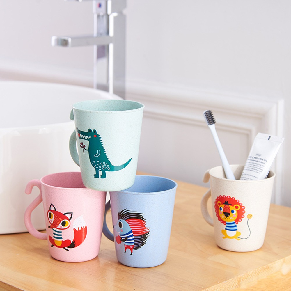 Lovely Plastic Cartoon Milk Coffee Cup Children Cartoon Washing Cup Toothbrush Holder Cup PP Bathroom Rinse Mug