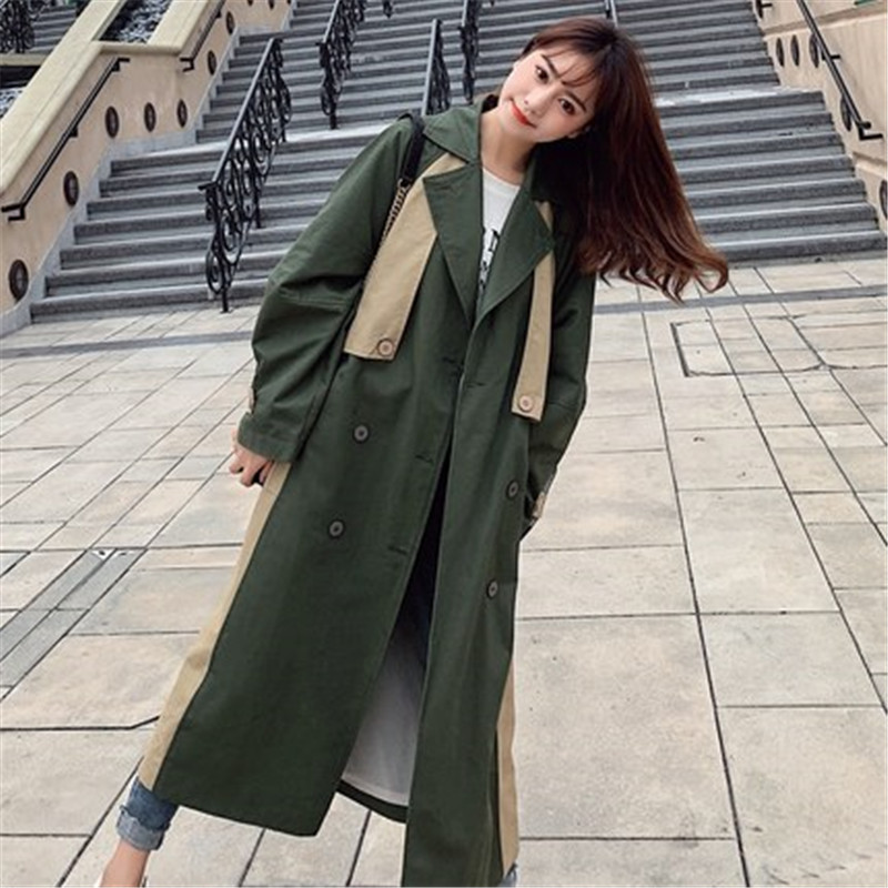 new Fashion 2019 Spring Autumn Casual Double breasted Classic Long   Trench   Coat with belt Chic Women Windbreaker Overcoats N761