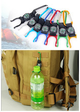 free shipping outdoor climbing essential mineral water bottles hanging buckle with a small compass#1709