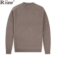 Riinr Brand Men's Sweater Pullovers Solid Color Style High Quality Wool Warm Knitted O Neck Sweaters Jumpers Thin Male Knitwear