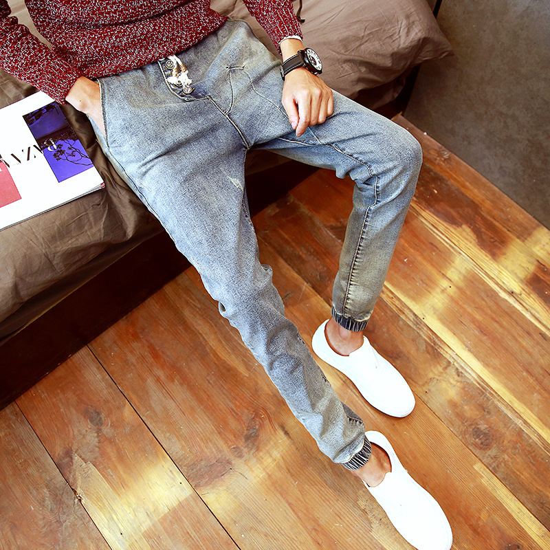 Fashion men skinny drawstring mid waist pencil Jeans pants slim fit 2017 famous brand Spring New