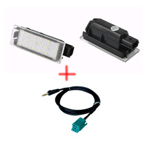 LED License  Number Plate Lamp For Renault Megane 2 Clio Laguna 2 Megane 3 Twingo Master +3.5mm AUX CD Stereo Audio Wire
