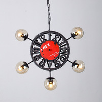 American Country Clothing Store Dining Room Chandelier Clock Beanstalk Chandelier Wind Rudder Industrial Personality A163