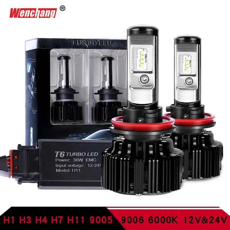 WENCHANG T6 Turbo Led Headlight H7 H4 led Headlight Bulb Turbo Decoder H1 H3 H11 9005 9006 Hi/Lo Beam CSP Chip 12V 30W 6000K kinklight 08210 01 3000 6000k
