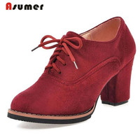ASUMER Nubuck Leather Shoes Women Round Toe Lace Up High Heels Shoes Oxford Big Size 33