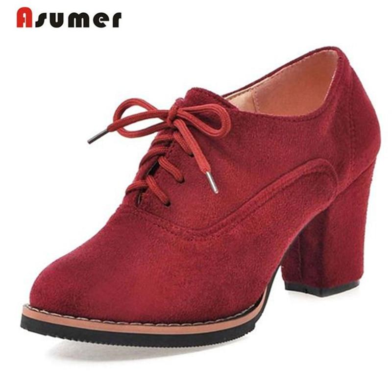 ASUMER Nubuck sapatos de couro das mulheres dedo do pé redondo lace-up sapatos oxford de salto alto tamanho grande 33-43 moda sapatos bombas sólida