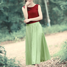 Nice Simple Brief Design Women Cotton Skirt Linen Skirts Prom Gown Skirt Ladies Casual Joker Skirt   AE508