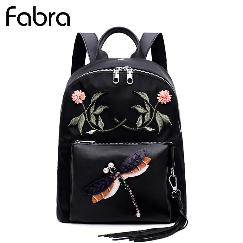 Fabra Fashion Backpack Waterproof Women Nylon Backpack School Bags for Teenager Dragonfly Embroidery Functional Travel Daypacks