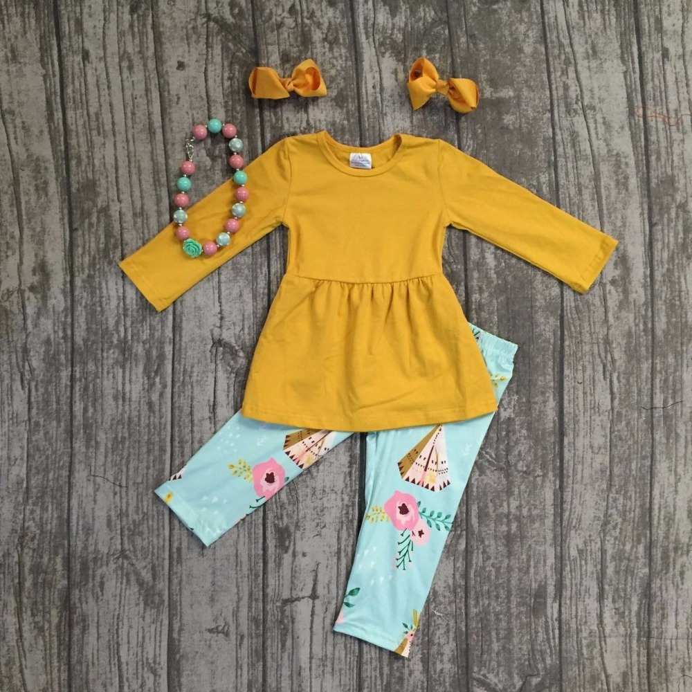 все цены на baby girls fall/winter children clothes mint mustard floral cotton tent top long sleeve pant outfits boutique with accessories