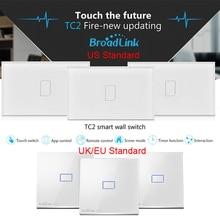 Broadlink TC2 1 gang Smart domotique modules Sans Fil à distance tactile cristal en verre interrupteur mural EU US UK Standard IOS Android