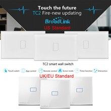 Broadlink TC2 1 gang, smart Home Automation, lámparas de Cristal Interruptor de pared táctil Remoto inalámbrico, UE EE. UU. REINO UNIDO Estándar de IOS/Android
