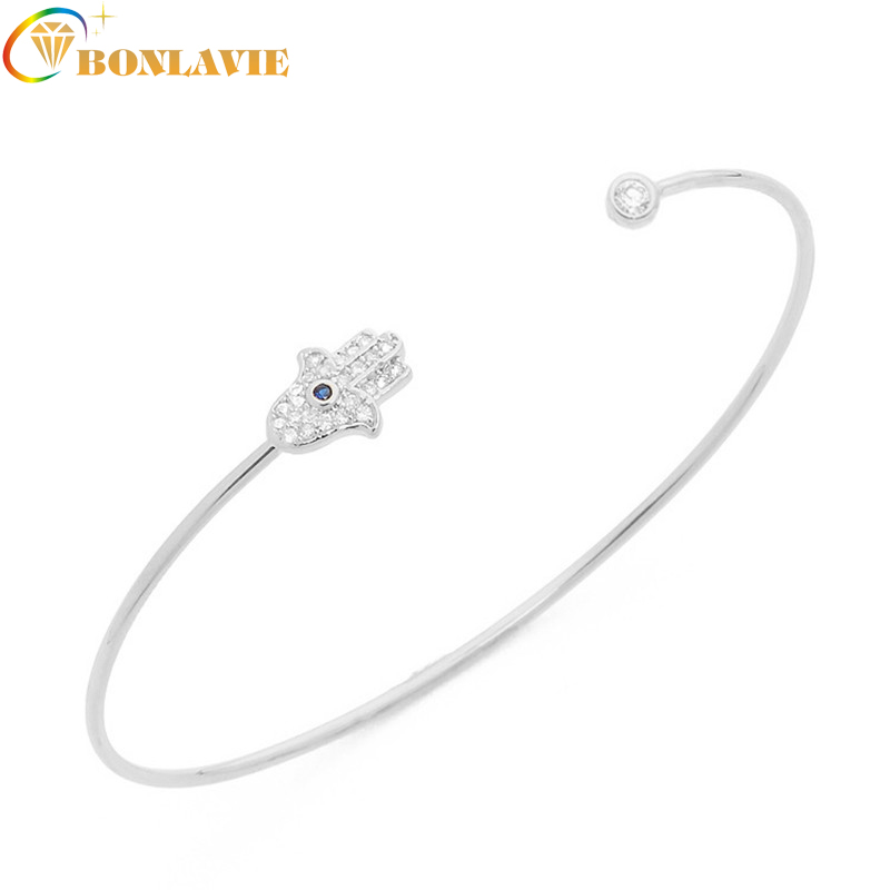 Fashion Hot Gold Color Punk Bangle Trendy Hamsa Hand Evil Eye Silver Color Cuff Open Bangle Bracelet for Women Jewelry
