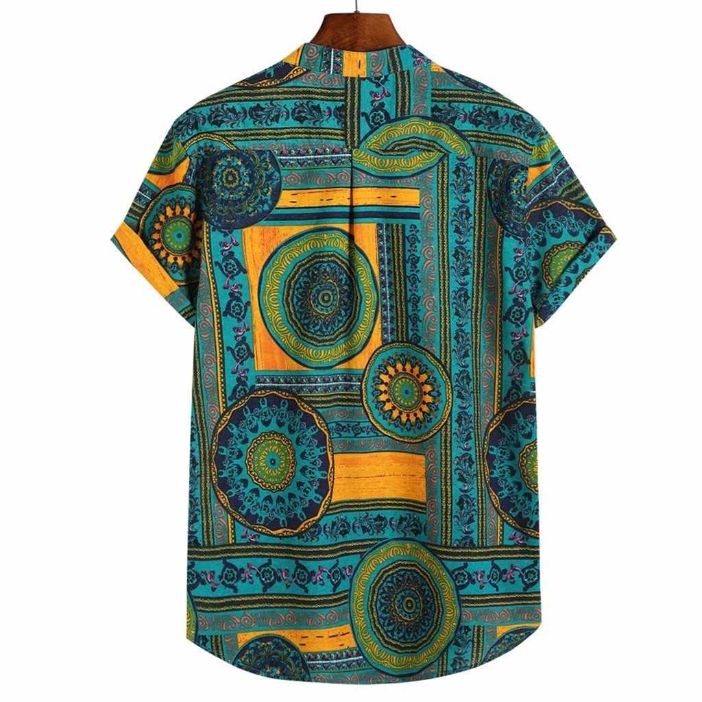 하와이 셔츠 리넨 셔츠 남성 덩어리 가슴 단추 반팔 라운드 밑단 캐주얼 루즈 셔츠 넥타이 헨리 남성 셔츠 여름 탑스