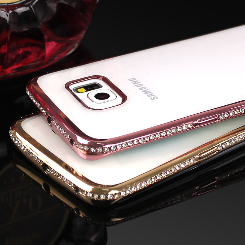 Shining Rhinestone Frame Samsung Galaxy S7 S6 Edge Thin Clear Soft Crystal Diamond Cover For Samsung J5 A5 2016
