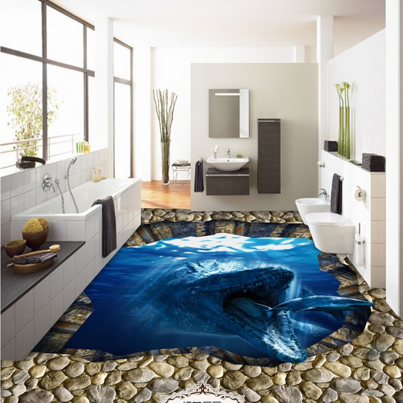 Free Shipping Sea animals eat shark 3d floor non-slip thickened bedroom living room bathroom square flooring wallpaper mural free shipping realistic large pond carp floor 3d wear non slip thickened kitchen living room bathroom flooring wallpaper mural