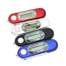 Slim 7Colorful LCD Flash Drive USB 16GB TF card supported USB Flash MP3 Player W/ FM Radio Earphone Black HOT